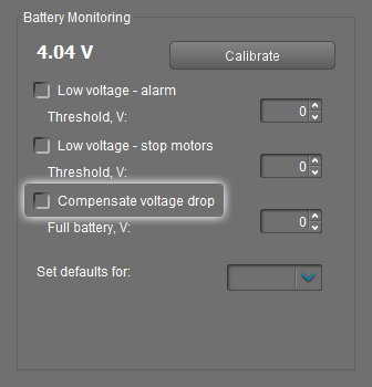 Compensate voltage drop in GUI